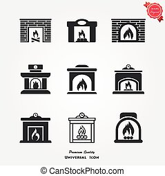 Set of icons on a theme fireplaces - Fireplace icons set...