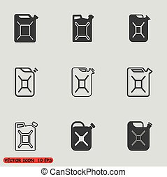 Jerrycan icons set Jerrycan icon eps 10