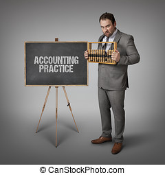 Accounting practice text on blackboard with businessman and...