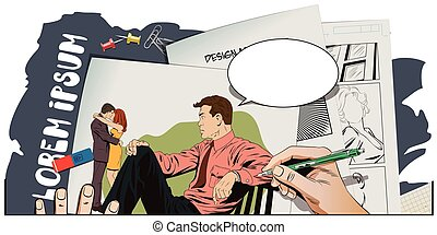 Man watching kissing couple - Stock illustration. People in...