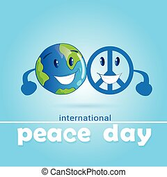 World Peace Day Hippie Sign With Earth International Holiday...