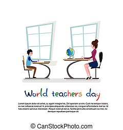 International Teacher Day Holiday Woman With Pupil School...