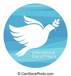 World Peace Day Poster White Dove Bird Symbol