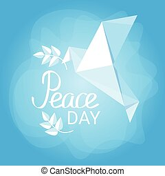 World Peace Day Poster White Origamini Dove Bird - World...