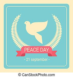 World Peace Day White Dove Bird Retro Poster