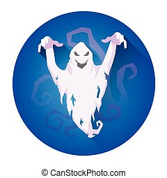 White Scare Ghost Halloween Holiday Icon Flat Vector...