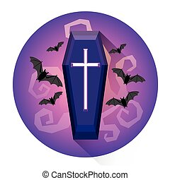 Coffin Cemetery Grave Halloween Holiday Icon Flat Vector...