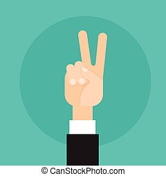 Business Man Hand Peace Victory Sign Gesture Flat Vector...