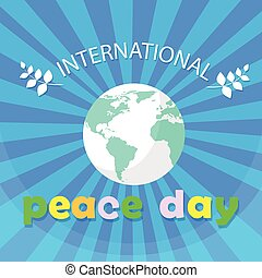 World Peace Day Earth International Holiday Poster Flat