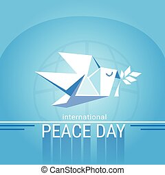 World Peace Day Poster White Origamini Dove Bird