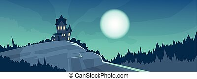 Gothic Castle View Night Moonlight Halloween Holiday Banner