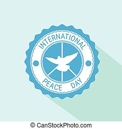 World Peace Day Icon White Dove Bird Symbol