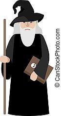 Cartoon wizard vector illustration Magic old man enchanter...