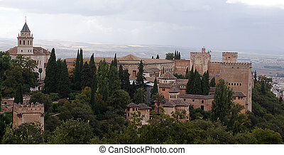 Panoramic view of Granada taken from Alhambra