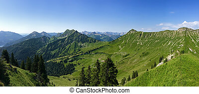 Panoramic view of Kafell peak and other peaks during summer...