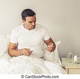 Man with common cold - Handsome man is having a common cold....