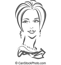 Face of gorgeous woman, scribble style