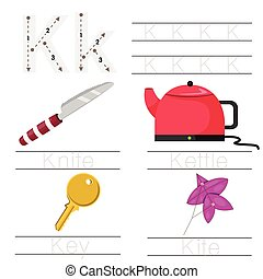 Illustrator of Worksheet for children k font