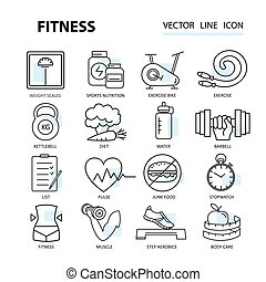 Set of vector illustrations for design fitness and sports...