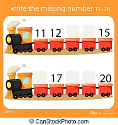 Write the missing number eleven to twenty on train