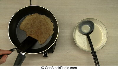First-person view on chef roasts pancake - At restaurant....