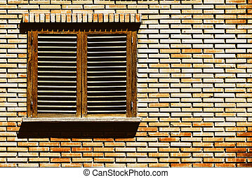Simple House Window On Red Brick Wall