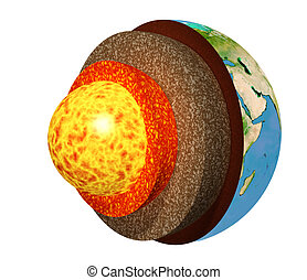 Structure of the Earth. Model isolated on white background....