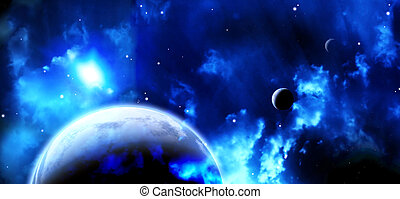 Space scene with planets and nebula - A beautiful space...