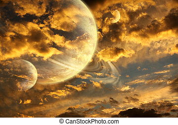 Beautiful sunset with storm sky and planets. Elements of...