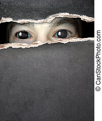 Monster eye in hole in the paper - Dark series - a look from...