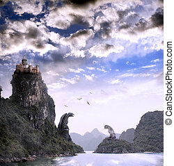 Beautiful fantasy landscape with old castle - Beautiful...