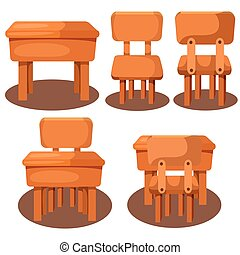 Illustrator of table and chair on class room