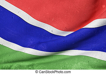 Gambia flag waving - 3d rendering of an old and dirty Gambia...