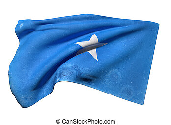 Somalia flag waving - 3d rendering of an old and dirty...