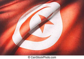 Tunisia flag - 3d rendering of a Tunisia flag