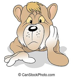 Thoughtful Bear - Thoughtful Brown Bear - Colored Cartoon...