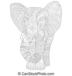 Page coloring for adults, hand drawn elephant zentangl...