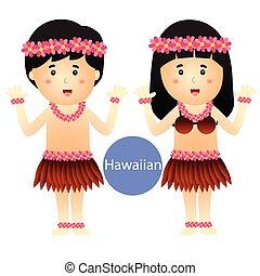 Illustrator of Hawaiian Boy and Girl vector isolated on...