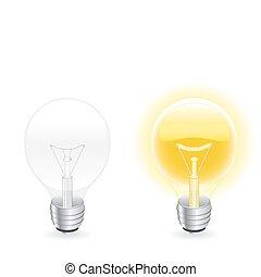 Light bulb - Vector illustration of two light bulbs, one...