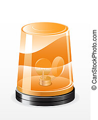 Vector flashing light - Vector illustration of orange...