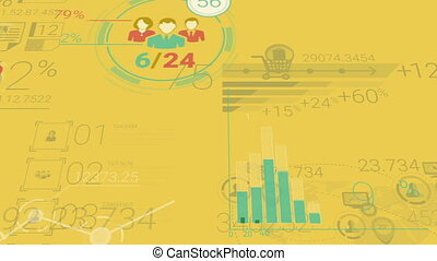Yellow Corporate Background With Abstract Elements Of...