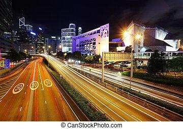 cidade, ocupado, estrada