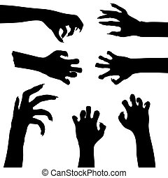 Set of zombie hands isolated on white background, vector