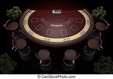 blackjack table and chairs