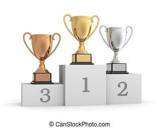 awards on winner podium 3d illustration on white background