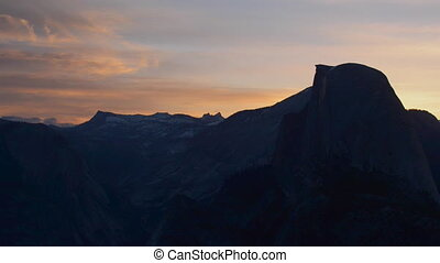 Yosemite National Park Sunrise Glacier Point Panning left -...
