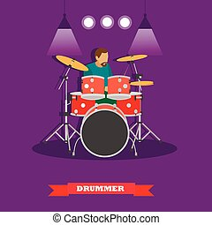 Drummer musician playing drums. Vector illustration in flat...