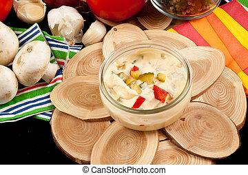 mayonesa, ensalada, aliño
