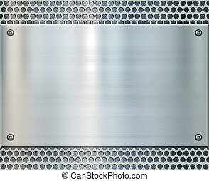 shiny metal background texture - shiny metal plate on holed...