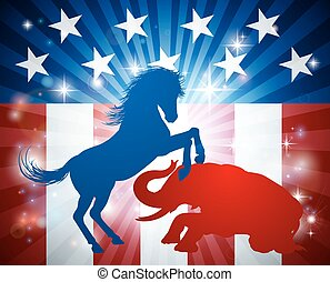 American Election Concept - Donkey and elephant in...